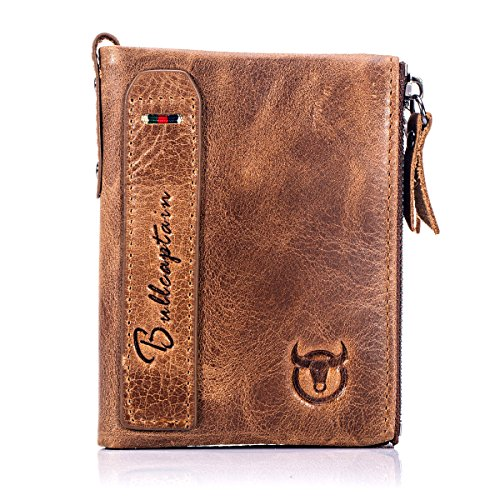 BULL CAPTAIN Wallets for Men with Double Zip Coin Purse Bifold Vintage Genuine Leather Slim Front Pocket Wallet Money Clip QB-6 (Mens Zip Front Leather)