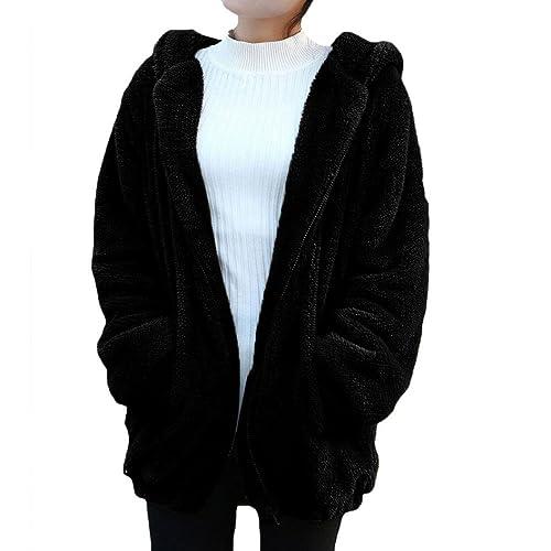 Abrigos Mujers,Tefamore SuéTer Con Capucha De SeñOra Hooded Rabbit Plush Jacket