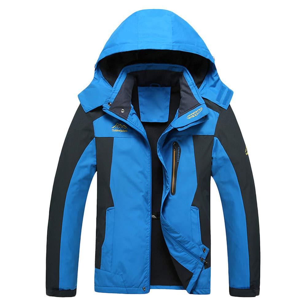 Men's Autumn Winter Long Sleeve Hooded Zipper Fleece Outdoor Jacket Waterproof Casual Sports Coat Blue