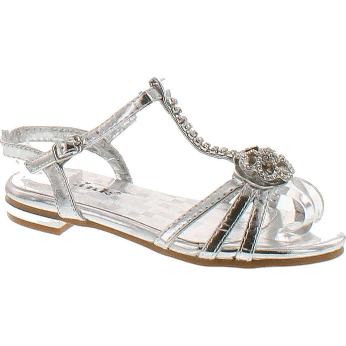 Forever Nora-69K Girls Open Toe Flat Wedding Party Dress Sandal Shoes,Silver,1