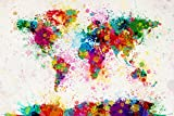 "Map Of The World - Pop-Art Poster / Print (Paint Drop World Map) (By Michael Tompsett) (Size: 36"" x 24"") (By POSTER STOP ONLINE)"