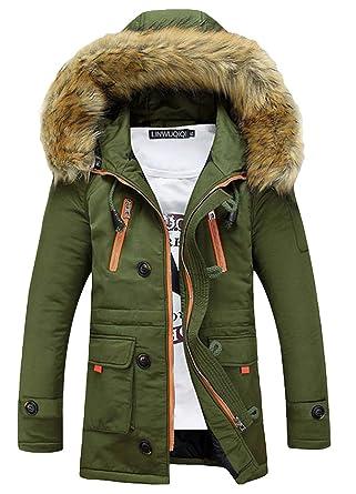Battercake Manteau d hiver pour Hommes avec Col en Fourrure Parka À Capuche  Confortable Veste a86ffe7c3dd5