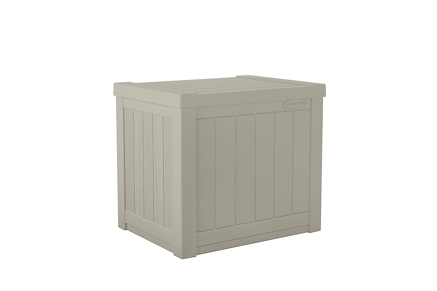 Suncast 22-Gallon Small Deck Box - Lightweight Resin Indoor/Outdoor Storage Container and Seat for Patio Cushions and Gardening Tools - Store Items on Patio, Garage, Yard - Light Taupe