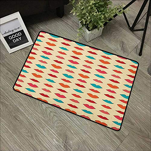 Outdoor Door mat W31 x L47 INCH Kiss,Pattern with Different Female Lip Shapes in Cartoon Style Colorful Romantic Girlish, Multicolor Non-Slip Door Mat Carpet