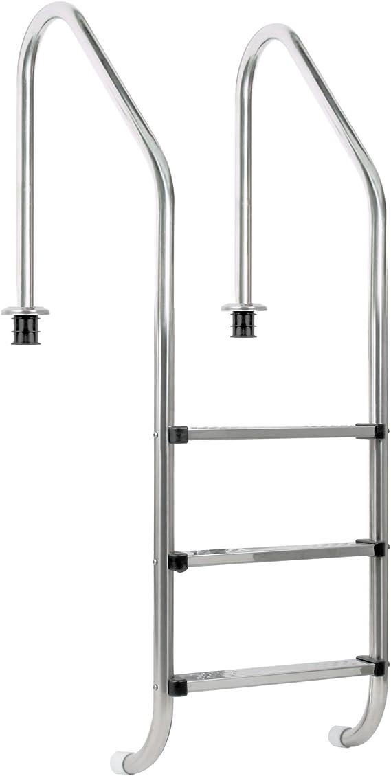 Zelsius – Piscina de acero inoxidable V2 A, escalera para piscina – «XL»: Amazon.es: Jardín