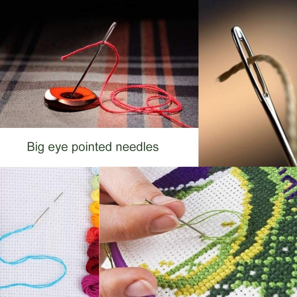 4.9inch to 6.8inch Big Eye Hand Sewing Needles for Stitching and Crafting Projects 9 PCS Large Eye Stitching Needles 3 Sizes Stitching Needles