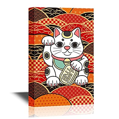 Japanese Culture Canvas Wall Art - Traditional Japanese Fortune Cat with Japanese Style Patterns - Gallery Wrap Modern Home Art | Ready to Hang - 12x18 inches