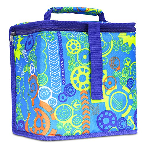 Insulated Lunch Bag, Nuovoware Reusable Outdoor Travel Picnic School Lunch Box Collapsible Tote Bag with Zipper Closure, Foldable & Multi-use for Men, Women and Kids - Imaginative Gear BLUE -