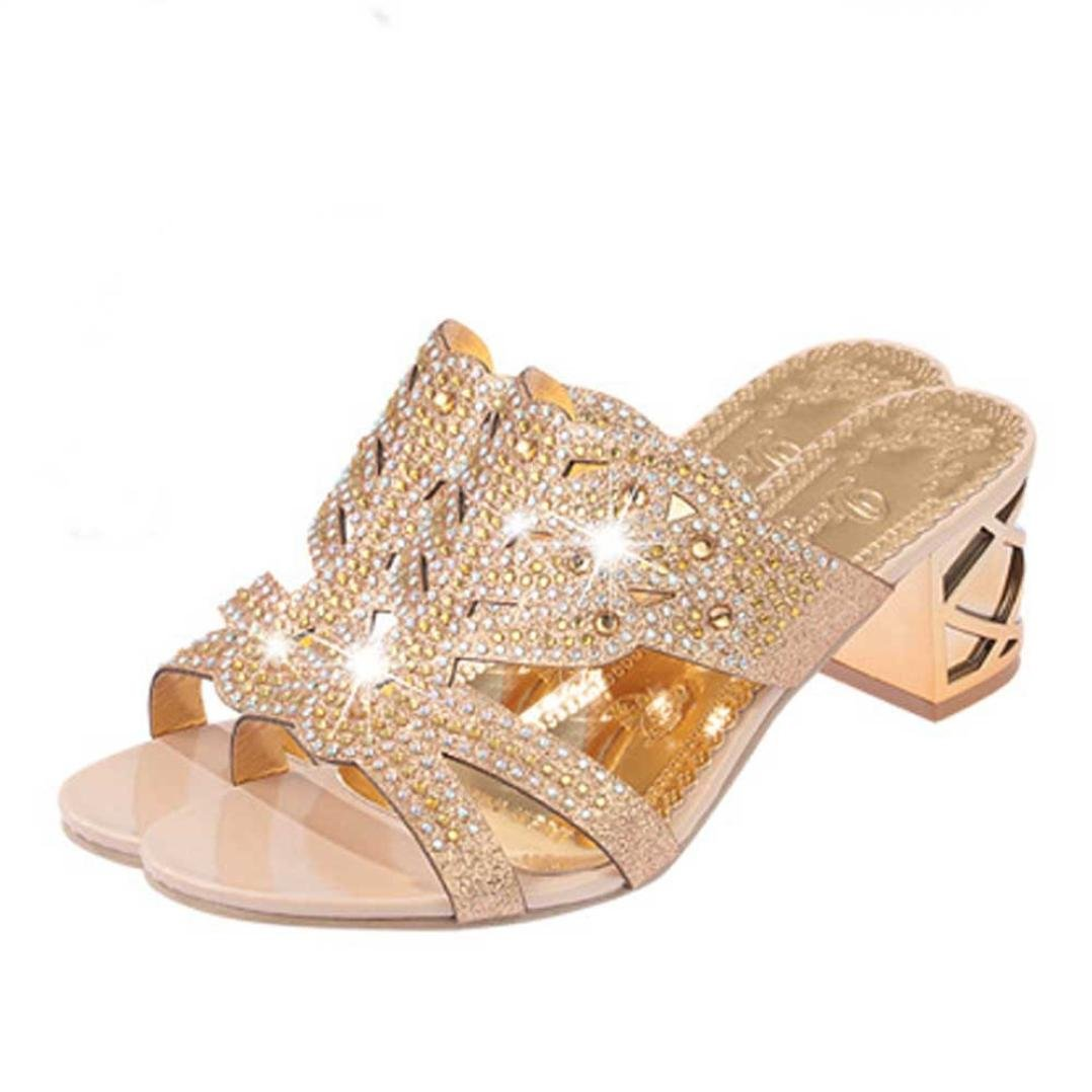 High Heeled Slippers,Bohemia Rhinestone Flip Flops Women Open Toe Shoes Jushye (40, Rose Gold)