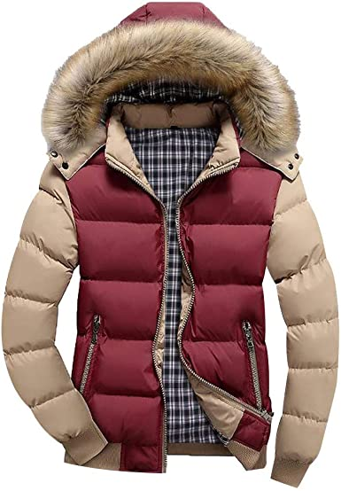 FSSE Mens Thick Winter Stand Collar Casual Down Quilted Coat Jacket Outwear
