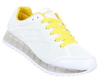 Damen Schuhe Freizeitschuhe Sneakers Turnschuhe Weiß Blau 37 jduFdn