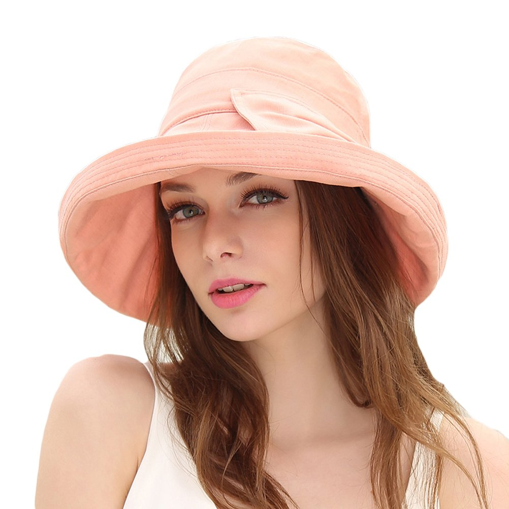 CACUSS Women's UPF 50+ Foldable Linen/Cotton Hat Big Brim with Big Bowknot and Inner Drawstring(Pink)
