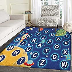 Kids Activity Area Rug Carpet Random Letters of the Alphabet in the Outer Space with Planets and Stars Living Dining Room Bedroom Hallway Office Carpet 5'x6' Multicolor