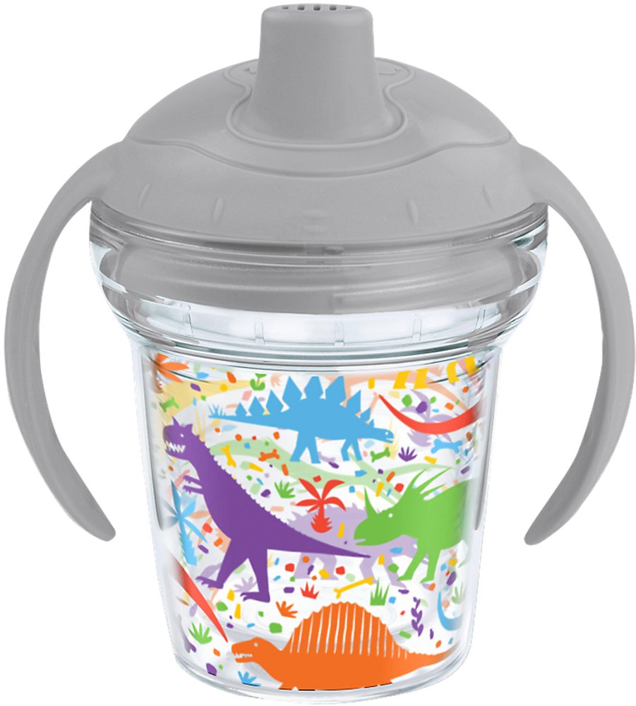 Clear 6oz My First Sippy Cup Tervis 1245736 Dino Mite All Over Insulated Tumbler with Wrap and Moondust Gray Lid