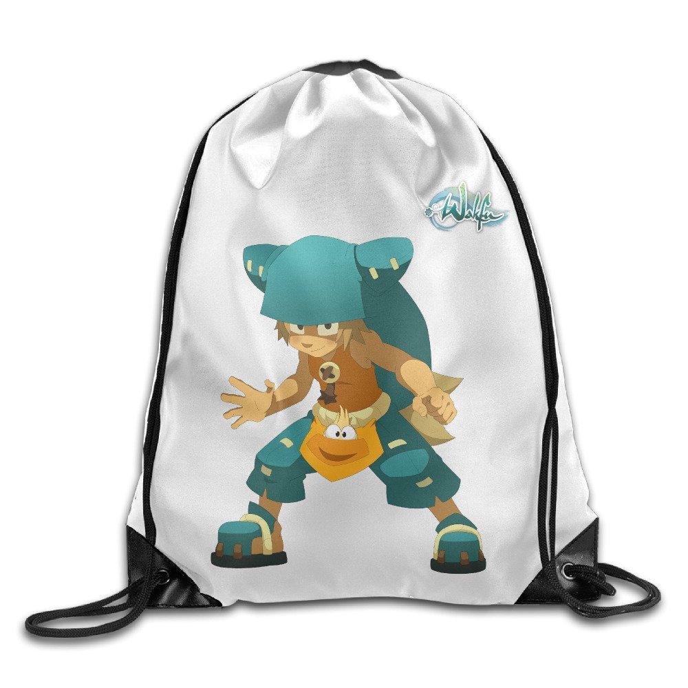 クリエイティブデザインユーゴWakfuロゴ巾着バックパックスポーツバッグの男性と女性 B01LLDP12Q ホワイト One Size