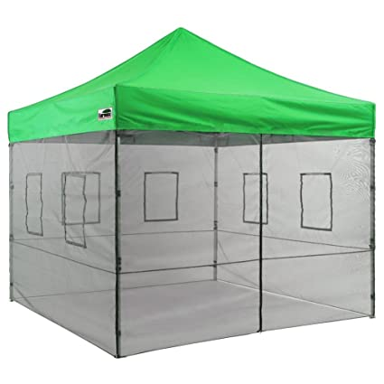 promo code 3a40c a5da1 Eurmax New 10x10 Feet Food Service Vendor Tent Pop up Canopy with 4  Removable Zipper End Mesh Sidewalls + Roller Bag (Kelly Green)