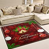 ALAZA Red Sparkle Snowflake Merry Christmas Area Rug Rugs for Living Room Bedroom 5'3 x 4′ Review