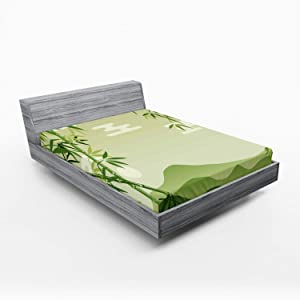 Ambesonne Green Leaf Fitted Sheet, Abstract Bamboo Trees in Japanese Forest Botanical Oriental Outdoors, Soft Decorative Fabric Bedding All-Round Elastic Pocket, Queen Size, Lime Green