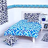 Ready Steady Bed Blue & Grey Pixels Design Reversible Bedding Single Duvet Cover Set with Pillowcase