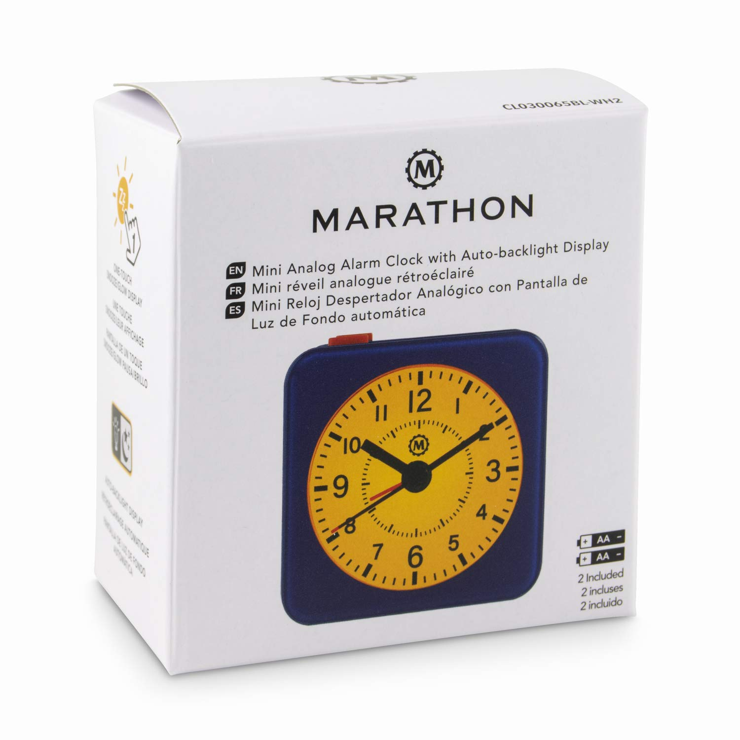 Amazon.com: Marathon CL030065BL-WH2 Mini Travel Alarm Clock. No Ticking, Auto Back Light and Snooze Function. Color-Blue Case/White Dial: Home Audio & ...