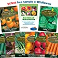 """Container"" Heirloom Vegetable Garden Seeds - 7 Seed Packets + 8 Gardening Guide eBooks, - Non-GMO, No Fillers - Bulk Variety Pack of Tomato, Carrot, Lettuce, Radish, Spinach, Cucumber"