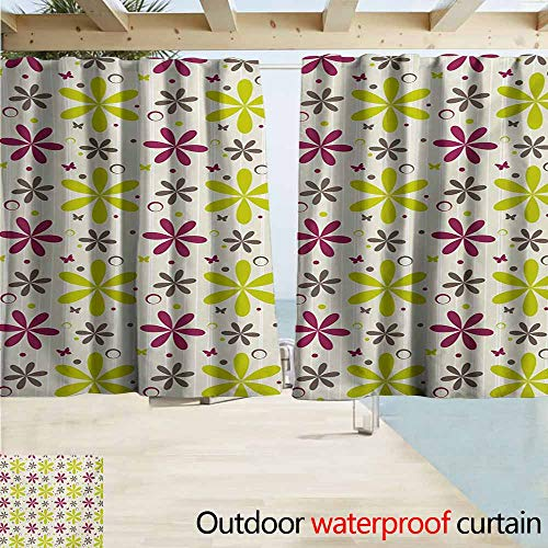 AndyTours Outdoor Blackout Curtains,Floral Cute Flowers Buds with Butterfly and Circle Hoops Nature Design,Rod Pocket Energy Efficient Thermal Insulated,W63x72L Inches,Apple Green Maroon Dark Taupe