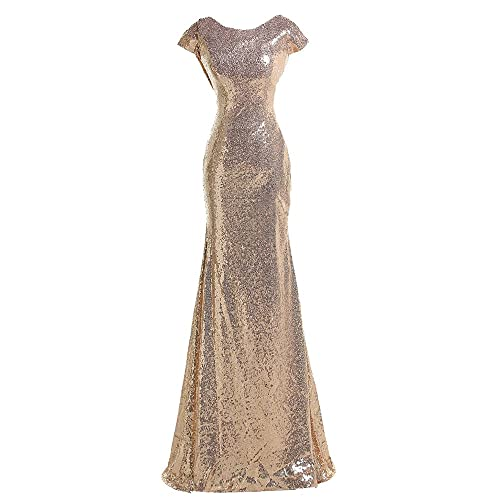 Sparkly Rose Gold Modest Sequin Bridesmaid Dresses Cowl Mermaid Formal Gowns