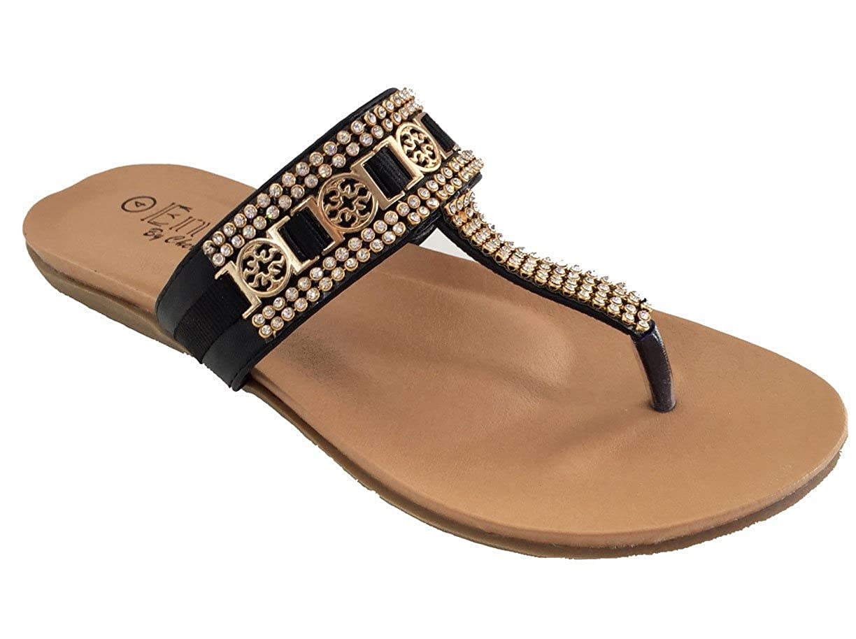 63dec783e Sophia Ladies Elegant Diamante Summer Slip On Toe Post Mule Summer Sandals   Amazon.co.uk  Shoes   Bags