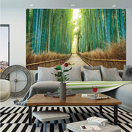 SoSung Bamboo Forest in Japan Wall Mural,Panoramic View of Historic Landscape Park Decorative,Self-Adhesive Large Wallpaper for Home Decor 83x120 inches,