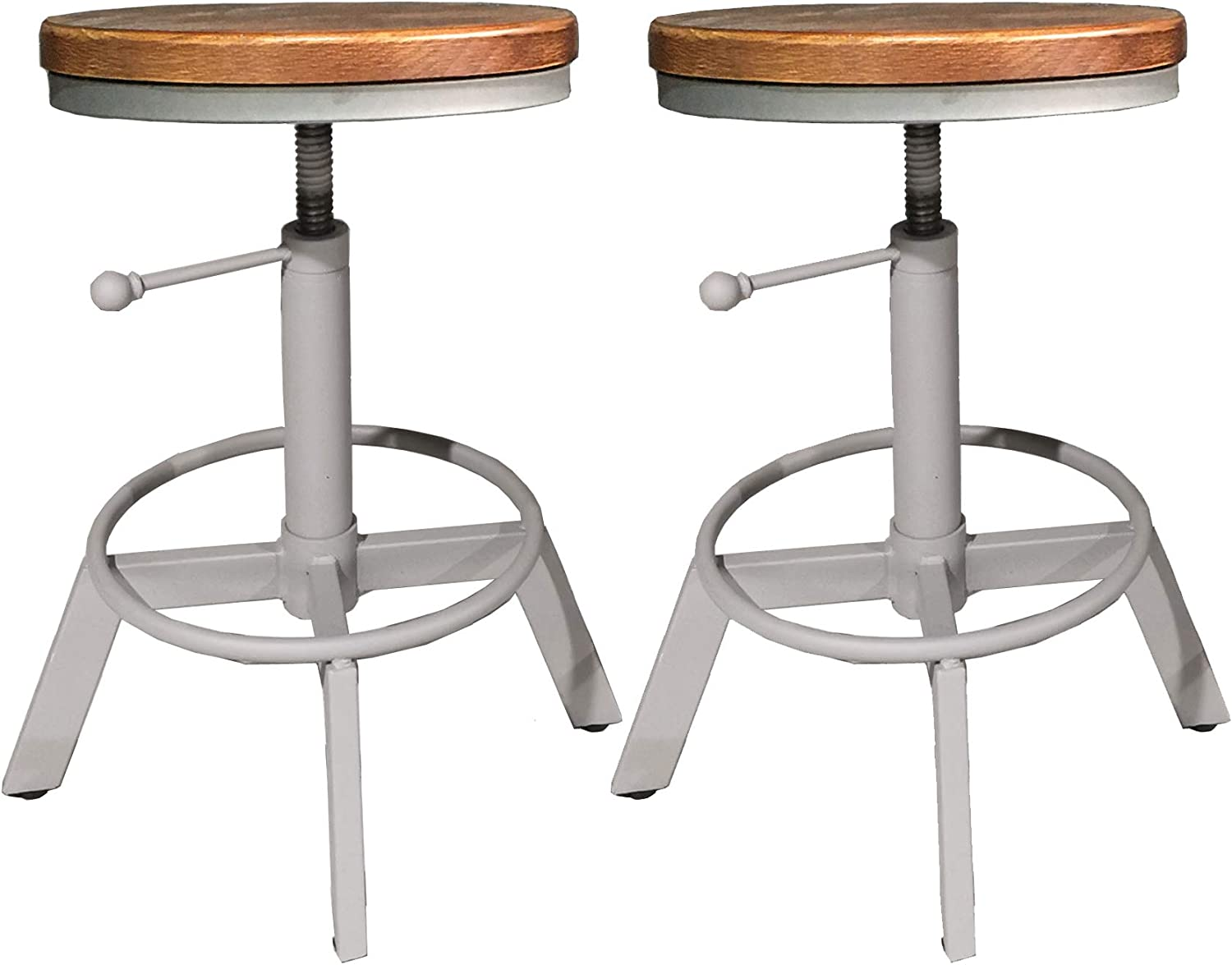 LOKKHAN Set of 2 Industrial Bar Stools-17-25 Counter Height Adjustable Kitchen Stools for Island-Rustic Farmhouse Swivel Wood Metal Bar Stool Dining Chair Cafe Stool