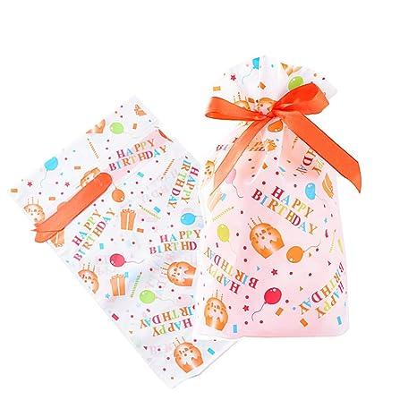 SERWOO (23*15cm) 50pcs Bolsas Bolsitas Cumpleaños con Cierre Plastico para Caramelos Dulces Regalo Bombones Galletas - Happy Birthday