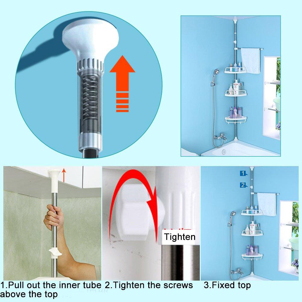Amazon.com: Baoyouni 3-Tier Kitchen/Bathroom Shower Corner Shelf ...