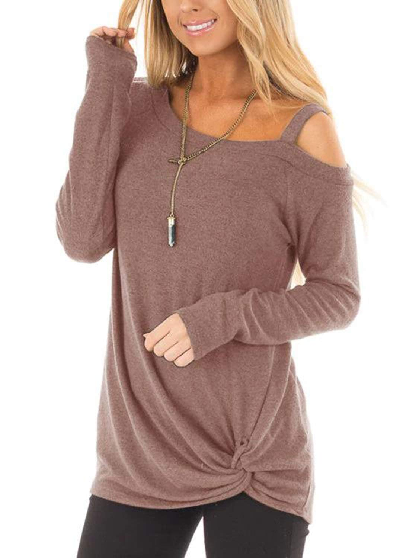 30dd05501d41c6 GARYOB Women s Casual Long Sleeve Knot Side Twist Knit Comfy Tunic Tops  Blouses