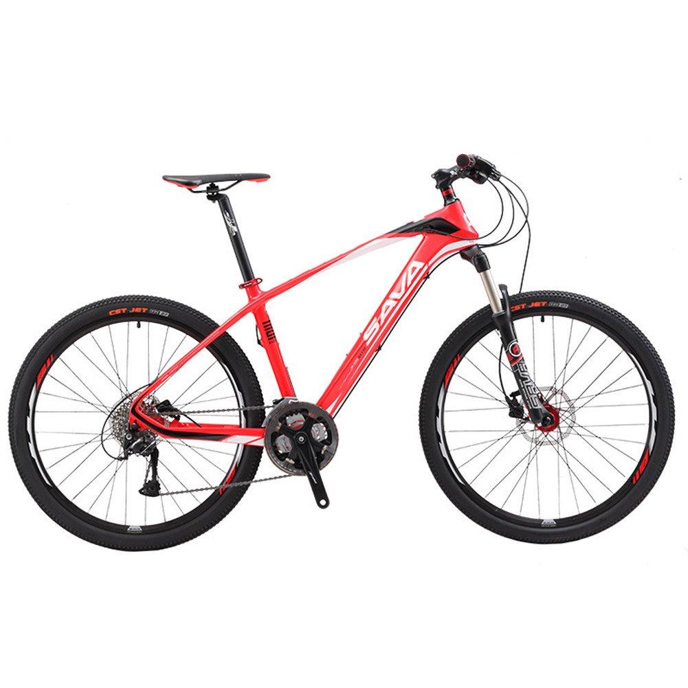 自転車 マウンテンバイク 炭素繊維フレーム カーボンファイバー 超軽量 シマノM370変速27速 26インチ B078PJ7PBM赤い
