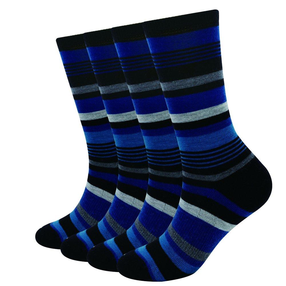 bluee Black Stripe Enerwear 4P Pack Women's Merino Wool Micro Crew Cushion Socks