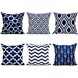 top finel 100 durable canvas square decorative throw pillows cushion covers pillowcases navy for sofa 1 set of 6 size 18 inch18 inchseries