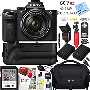 Sony a7R II 42.4MP Full-frame Mirrorless Interchangeable Lens Camera Body w/ Sony FE 28-70mm F3.5-5.6 OSS Full Frame E-Mount Lens + 64GB Battery Grip and Memory Bundle