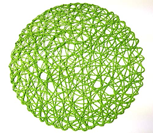 Green Rustic Dining Table - Round Paper Fiber Woven Place Mats, 100% Paper Fiber 15-Inch , Natural , Set of 12 pcs (Green)