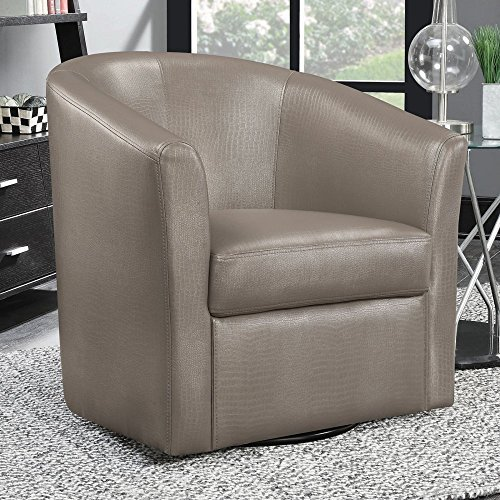 Asian Living Room Chair - Coaster 902726-CO Faux Leather Upholstered Swivel Accent Chair, Champagne
