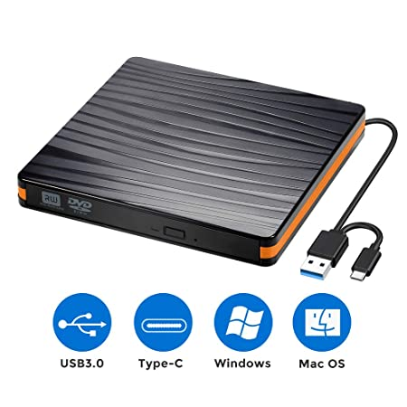 Externes CD/DVD Laufwerk Brenner USB 3.0 und Typ-C-Schnittstelle, Tragabar Externe DVD-RW DVD/CD,kompatibel mit Win10 /8/7/XP