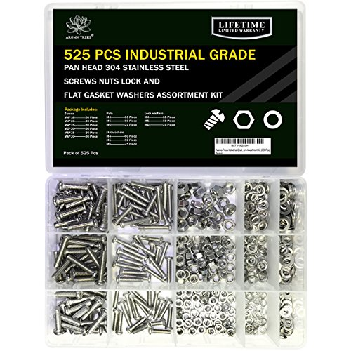 Aroma Trees Industrial Grade M4 M5 M6 Pan Head Screws Nuts Lock and Flat Gasket Washers Assortment Kit (525 Pcs) from Aroma Trees