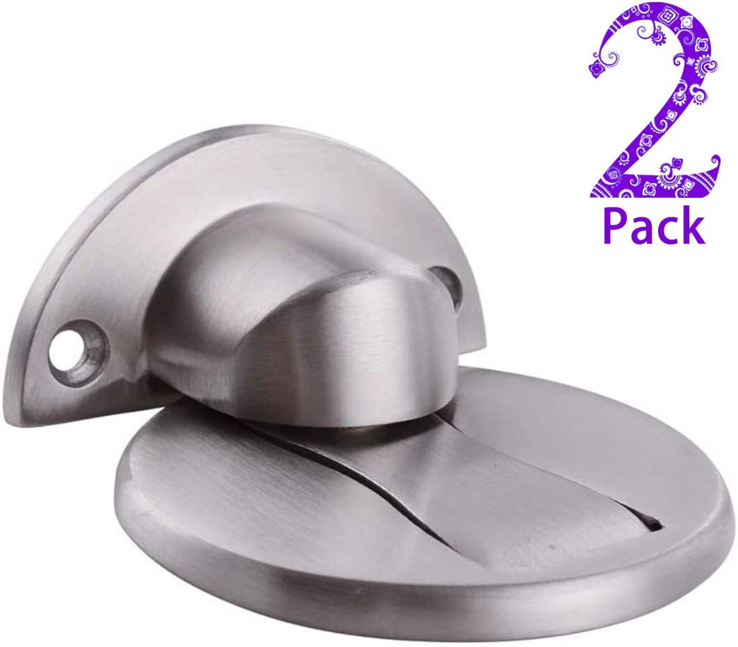 Door Stop,Magnetic Door Stopper Catch Holder Commercial Doors Stops,No Drilling Doorstopper for Security Black 3 Pack Stainless Steel Floor Mount Magnetic Door Stopper Wall Hold Open Doorstop