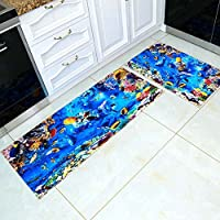 Creative 3D Sea World Carpet Runner Rug 2 Pieces Set, Ultra Soft 3D Kitchen Bathroom Anti-slip Area Rug, Bedside Floor Mat Set 35x24 In + 71x24 In