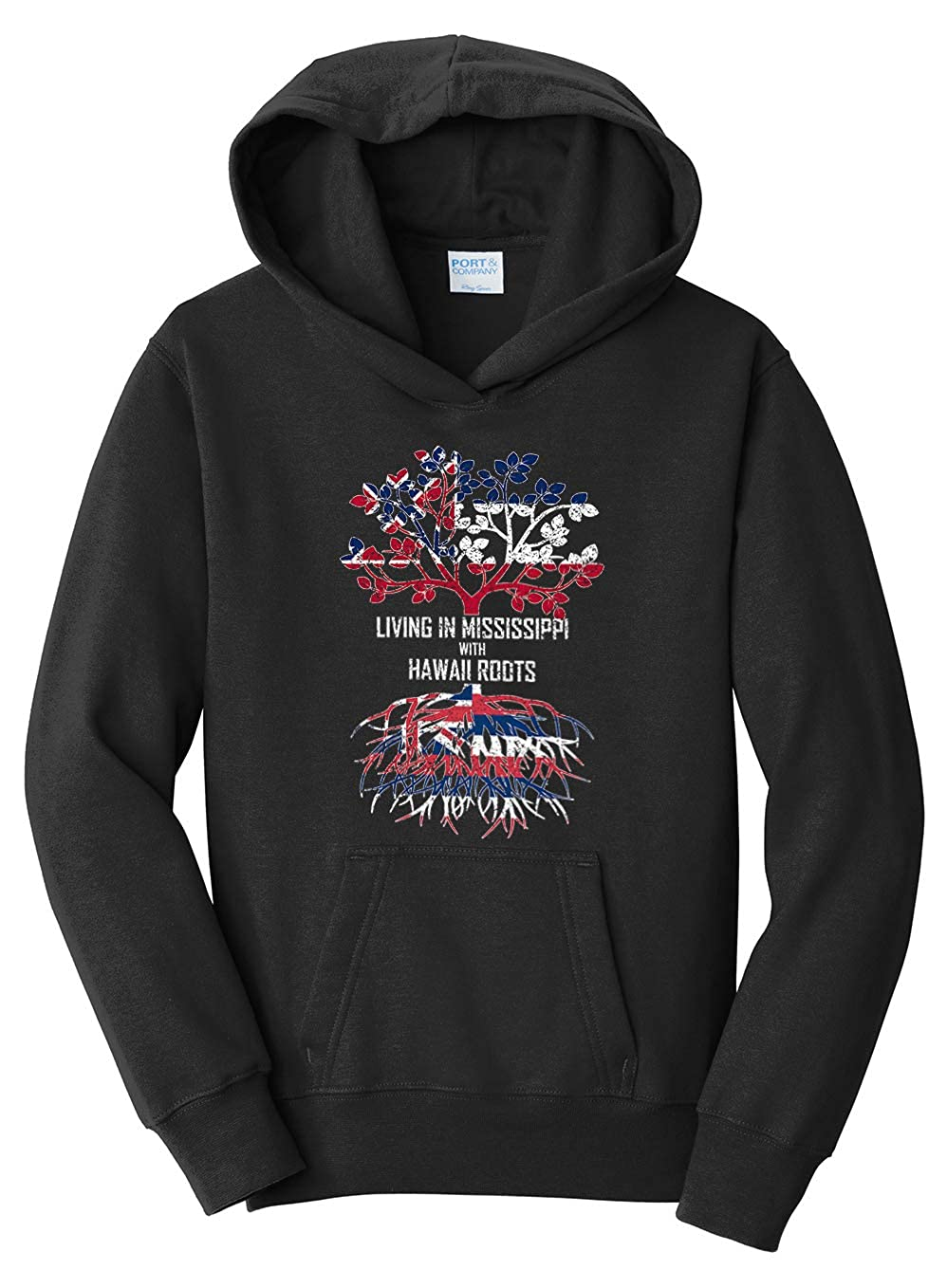 Tenacitee Girls Living in Mississippi with Hawaii Roots Hooded Sweatshirt