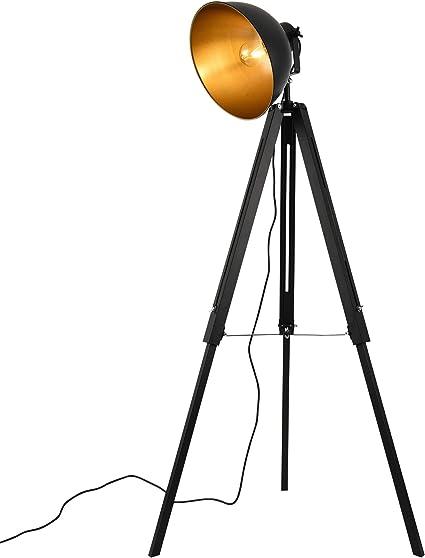 Lux Pro Lampe Sur Pied Lampadaire Trépied Avec Abat Jour Design Industriel Métal Noir Et Or 135 Cm X 60 Cm Amazon Fr Cuisine Maison