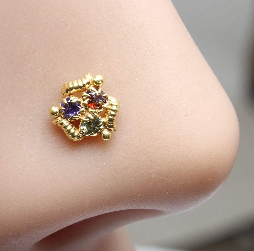 Karizma Jewels Ethnic CZ Studded Nose Stud 22k Gold Filled Piercing Push pin Nose Ring