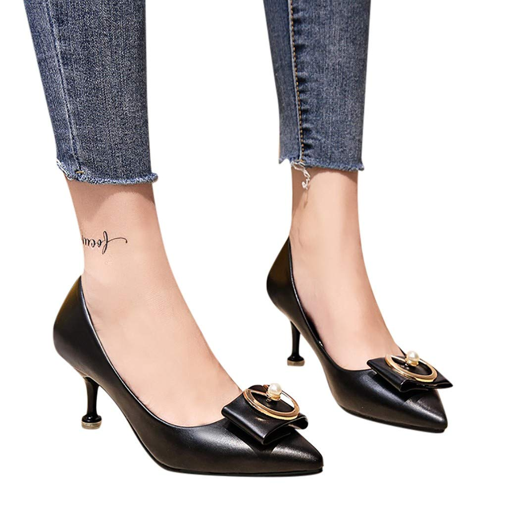 Fainosmny Fashion Pumps Middle Heels with Single Shoes Pointed Head Thin Heels Women Shoes Black