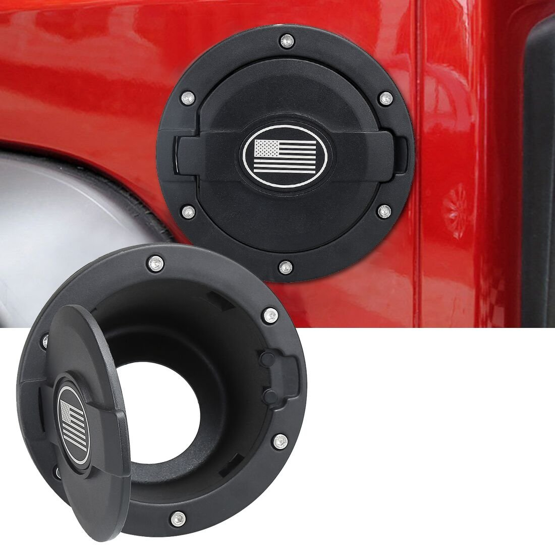 Gas Tank Cap Fuel Filler Door Cover for 2007-2017 Jeep Wrangler JK /& Unlimited Sport Rubicon Sahara 4 Door,2 Door