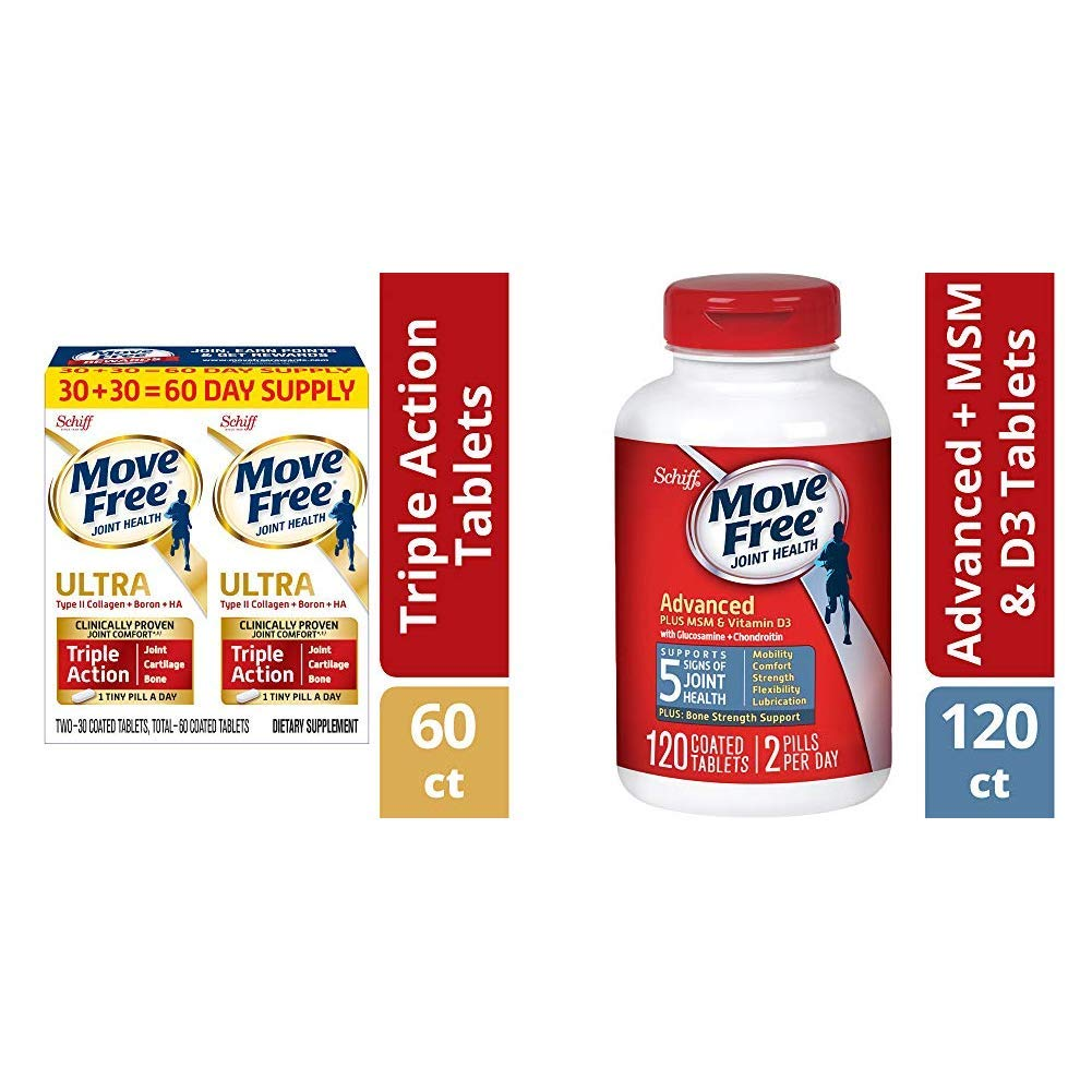 Move Free Type II Collagen, Boron & HA Ultra Triple Action Tablets(60), Joint Health Supplement and Glucosamine and Chondroitin Plus MSM & D3 Advanced Joint Health Supplement Tablets(120)
