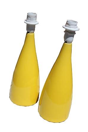 § § par de pies de lámpara de mesa. Amarillo brillante diseño contemporáneo de cerámica